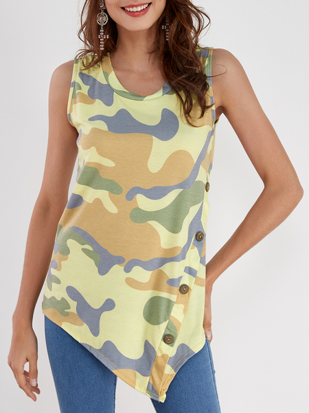 Camo Print Round Neck Button-down Asymmetrical Top