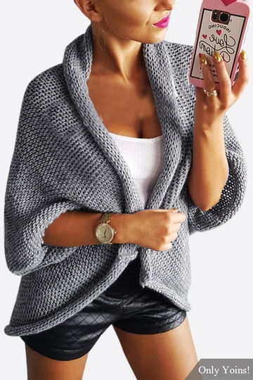 Grey Ladies Style Cardigan de punto