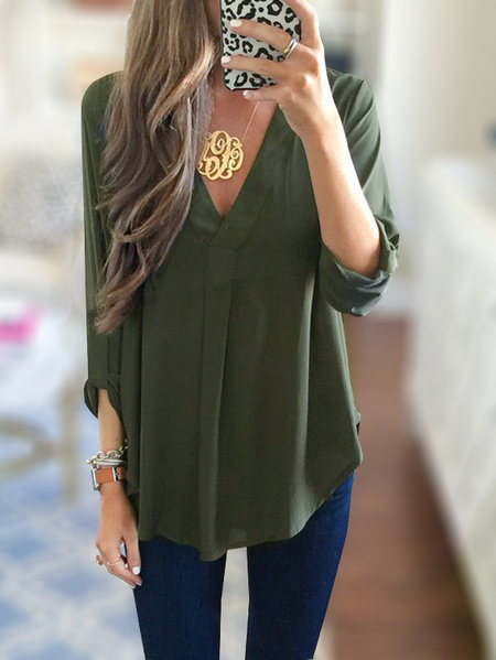 Army Green V-neck 3/4 Length Sleeves Curved Hem Blouses
