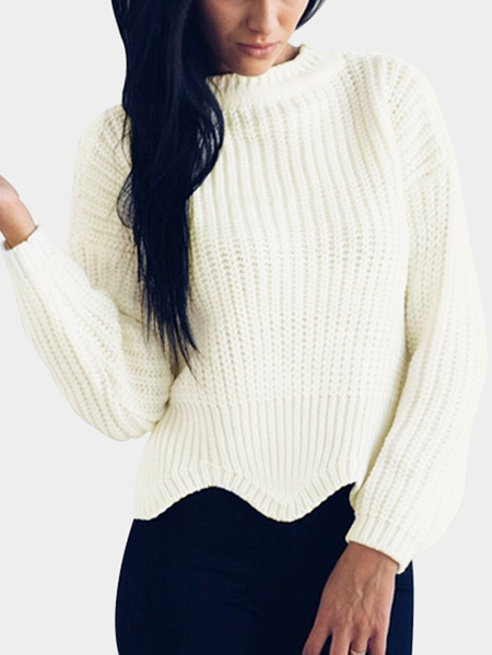 Beige Wave Hem Round Neck Knit Sweater