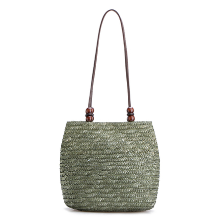 Green Woven Top Clasp Magnetic Closure Shoulder Bags