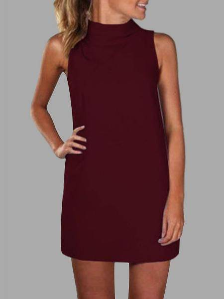 Burgundy High Neck Sleeveless Mini Dress