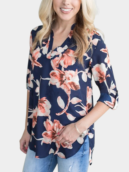 Royal Blue V-neck Roll Up Sleeves Curved Hem Random Floral Print Blouse