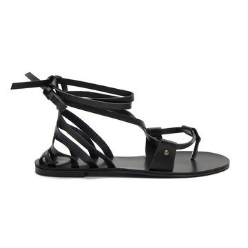 Black Leather Look Lace-up Strappy Flat Sandals