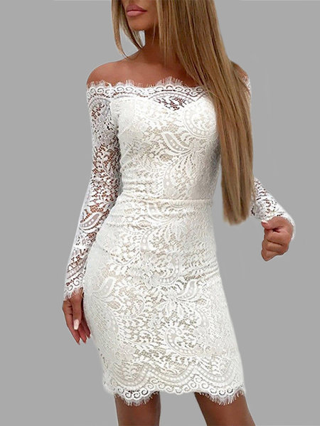 Detalhes de renda branca Off The Shoulder Mangas compridas Bodycon Dress
