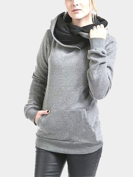 Grey Special Hooded Big Pocket Front Sweatshirt
