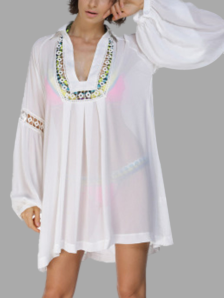 Semi Sheer Crochet Lace Beachwear with long sleeves