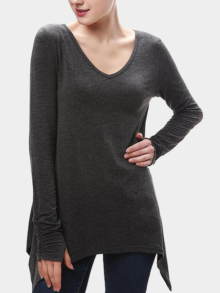 Dark Grey Irregular Hem Pleated Design Long Blouses