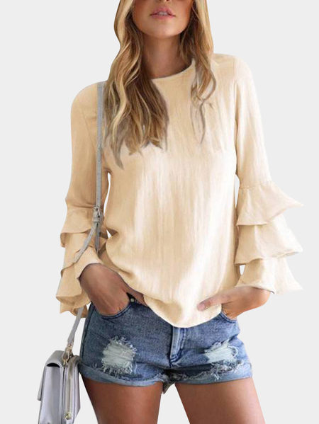 Yellow Round Neck Flared Sleeves Blouse
