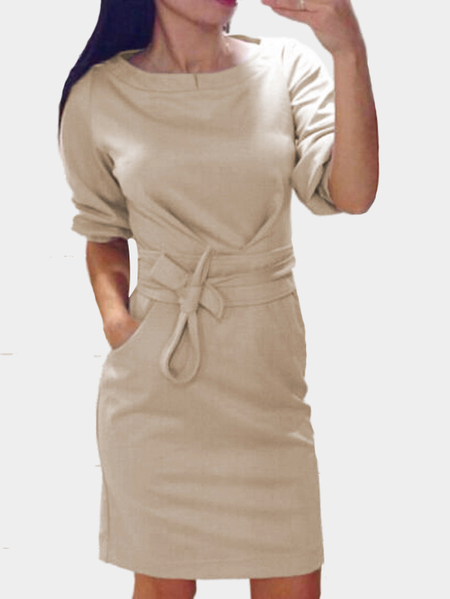 Beige Round Neck Half Length Sleeves Self-tie Waist with Pocket