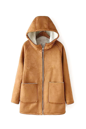 Tan Suedette Hooded Coat