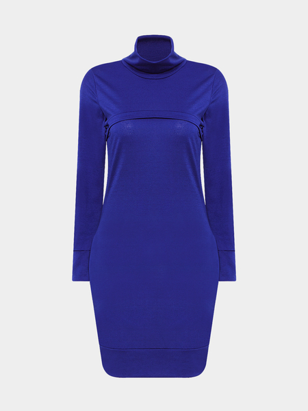 Royal Blue High Neck Skinny Mini Dress with Side Pocket