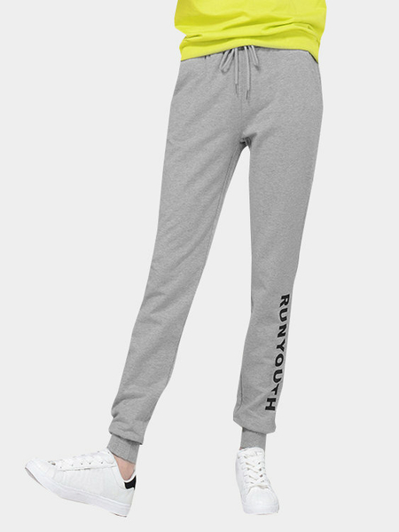 Gray Letter Pattern Trousers