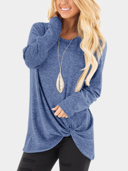Blue Crossed Front Design Plain Round Neck Long Sleeves T-shirts