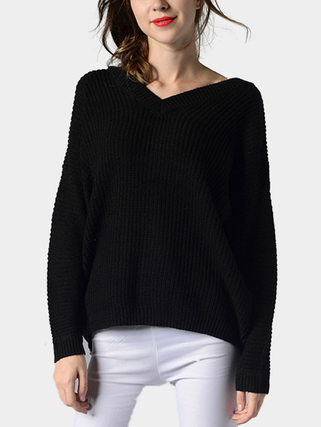 Black Loose V-neck Long Sleeves Cut V Shape Back Jumper