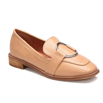 Apricot Round Buckle Design Flat Loafers