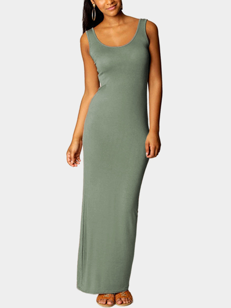Green Scoop Neck Sleeveless Maxi Dress