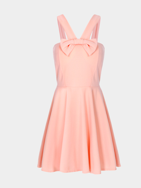 Pink Sexy Tube V-neck Bow Bodycon Cami Dress