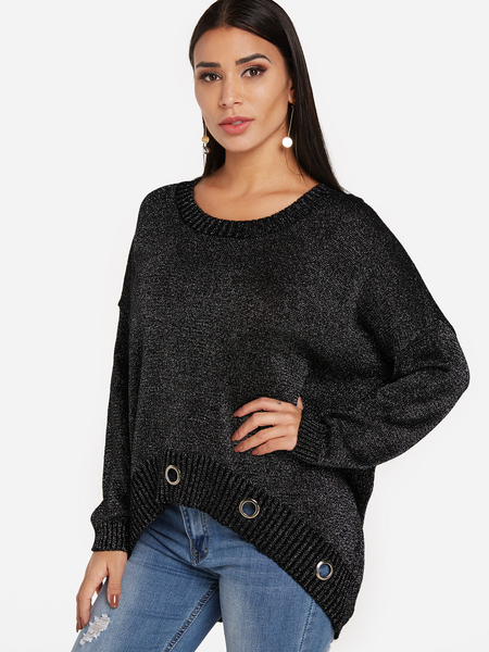 Grey Hollow Design Round Neck Long Sleeves Jumper
