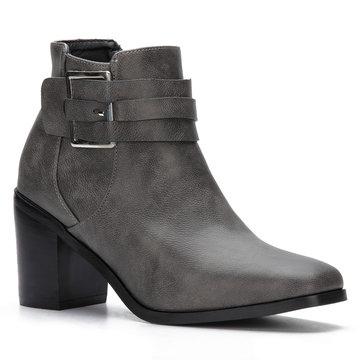 Grey Buckle Design Chunky Heels Short Boots