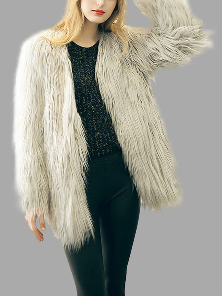 Grey Fashion Long Sleeves Artificial Fur Longline Coat