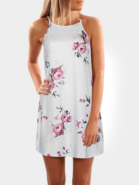 White Random Floral Print Sleeveless Mini Length Dress