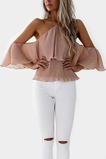 Apricot Chiffon Halter Cut Out Backless Blouses with Tiered Design