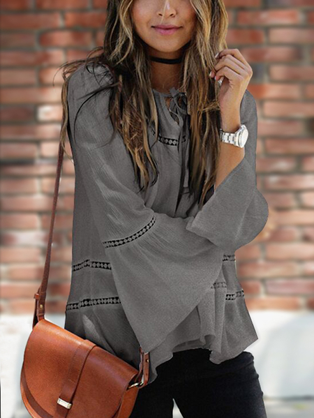 Grey Hollow Out  Tie-up Round Neck Bell Sleeves Blouse
