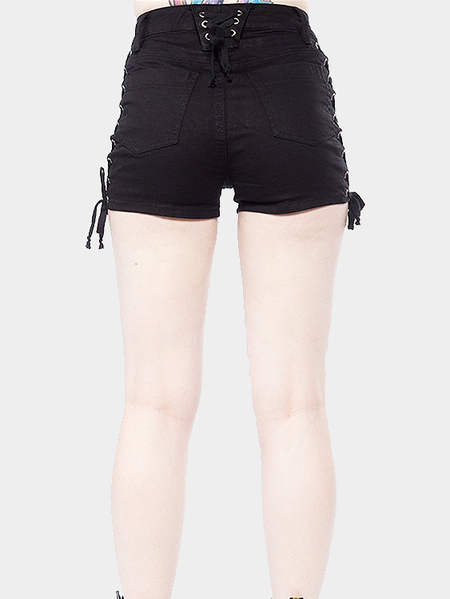 Black Sexy Lace-up Denim Shorts