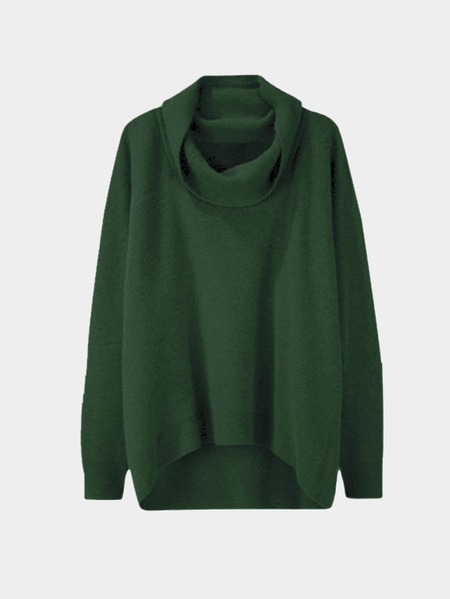 Green Casual Knitted High Neck Curved Hem Sweater