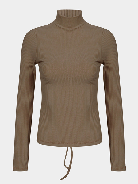 Khaki High Neck Self-tie Back Long Sleeves T-shirt