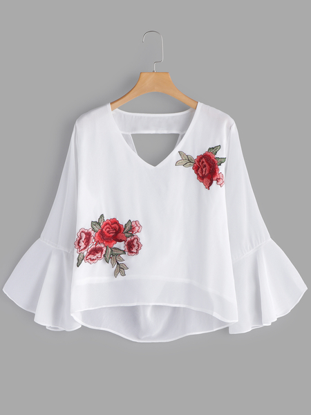White Embroidered V-neck Bell Sleeves Chiffon Blouses