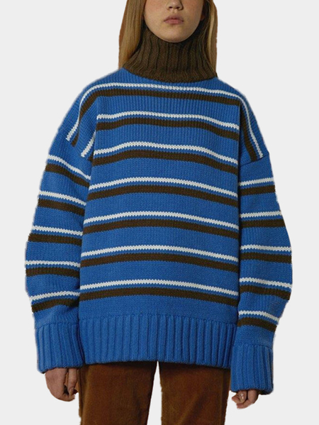 Random Stripe Pattern Long Sleeves High Neck Jumper