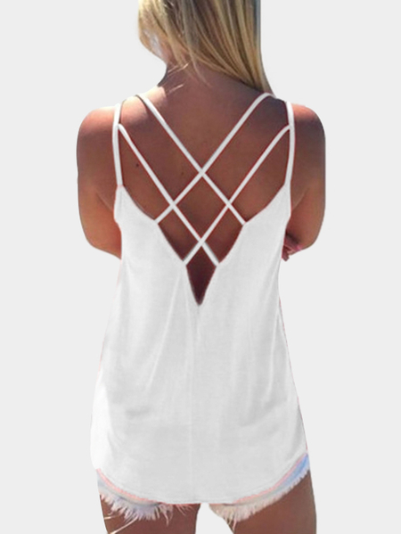 White Sleeveless Cross Front Top