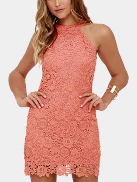Candy Red Halter Lace Details Mini Kleid mit Zip Design