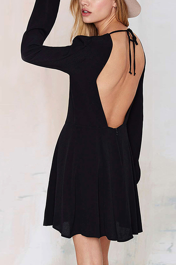 Black Backless Mini Dress