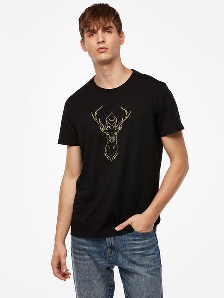 Fashion Goat Head Embroidered Black Crew Neck Short Sleeve Bodycon Hem Men's T-Shirt