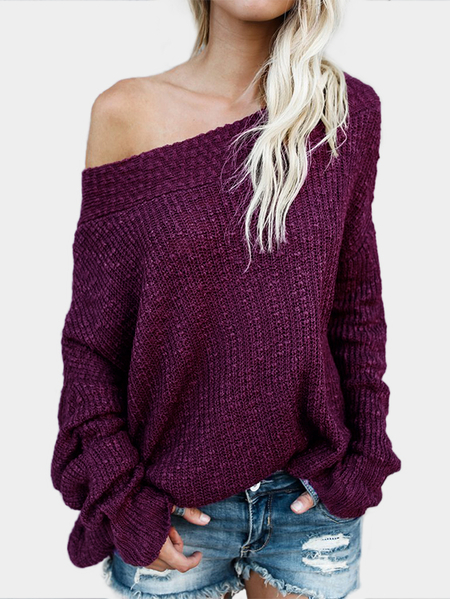 Burgundy Off The Shoulder Long Sleeves Loose Plunge Sweaters