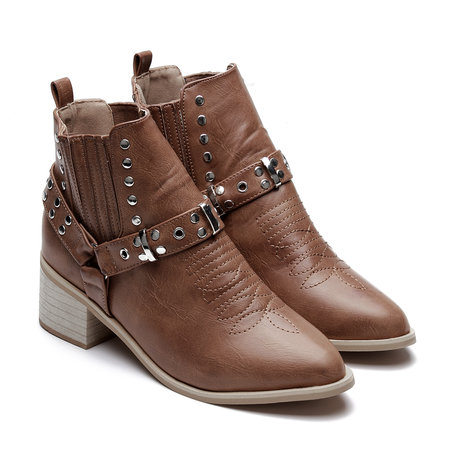 Light Brown Studded Block Heel Ankle Boots