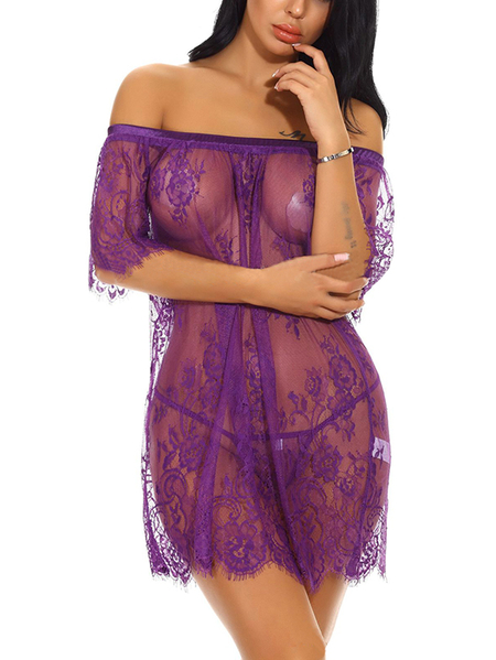 Purple Tease Off-The-Shoulder Delicate Lace Eyelash Trim Pajamas with G-stings