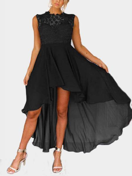 Delicate Crochet Lace Detalles Maxi Dress en Negro