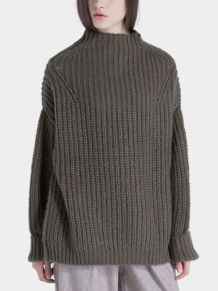 High Neck Knitted Jumper in Green
