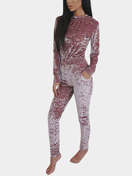 Purple Velvet Elastic Crew Neck Waist Back Zipper Details Jumpsuits
