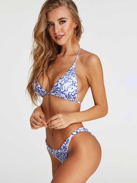 Floral Print Halter V-neck Backless Middle Waist Bikini Set
