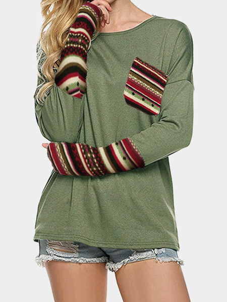 Amry Green Patchwork Round Neck Long Sleeves Top