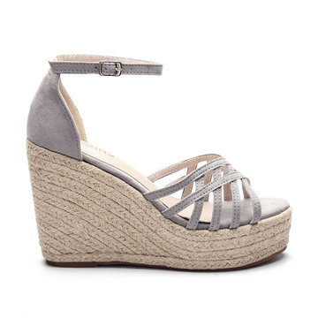 Grey Cross Over Braid Wedge Sandals