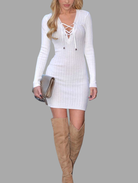 White Lace-up Design Deep V-neck Long Sleeves Sexy Ribbed Dress