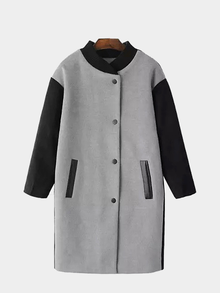 Longline Splicing Duster Coat with Leather Trim