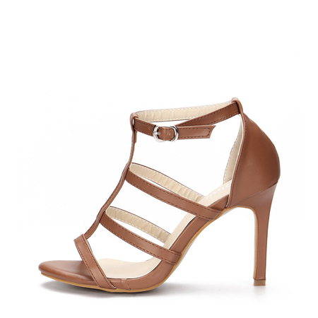 Brown Leather Look High Heel Gladiator Sandals