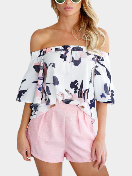 Off-The-Shoulder Random Floral Print Top in White